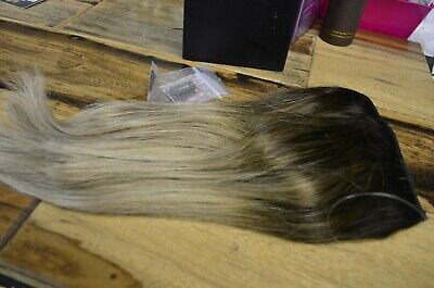 "18"" Sunny Invisible Halo Human Hair Wire Extensions with Clips Black Blonde 2 to"
