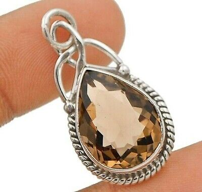 Natural 10CT Smoky Topaz 925 Solid Sterling Silver Pendant Jewelry EA22-9