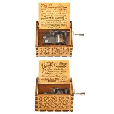 Retro Hand Cranked Wooden Music Box Christmas Gift Party Household Decor CA