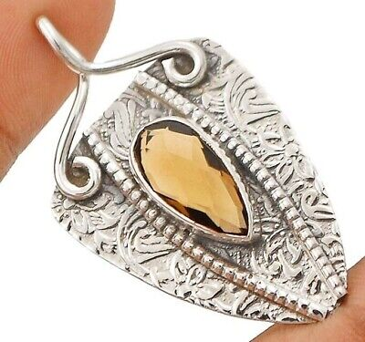 Natural 4CT Smoky Topaz 925 Solid Sterling Silver Pendant Jewelry EA22-9