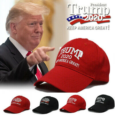 Trump 2020 President Make America Great Again MAGA Baseball Cap Hat BLACK Red C