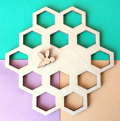Wooden honeycomb with bee 5 inch yarn holder embroidery floss organizer hexagon
