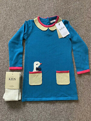 M&S Marks Spencer Knitted Petrol Blue Dress Tight Gold Pink 3-4 Duck BNWT RRP£20