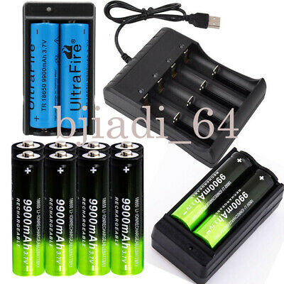 Ultrafire 18650 Batteries 9900mAh-3.7V Li-ion Rechargeable Battery Charger Plug