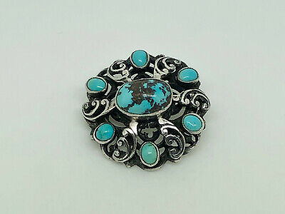Rare English Arts & Crafts Zoltan White Sterling Silver Turquoise Brooch ZW&Co