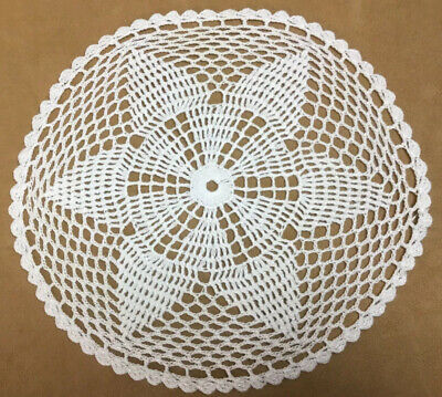 Vintage Round Hand Crocheted Doily, Starflower Design, Round, White