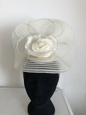 Large White Stripe Fascinator Headband Weddings Christening Ladies Day Ascot