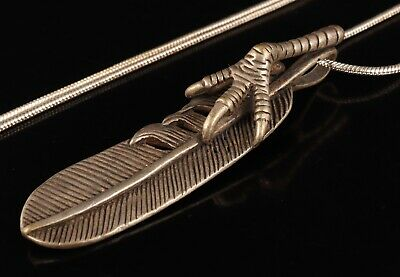 Unique Chinese Tibet Silver Necklace Pendant Feather Mascot Man Exorcism Gift