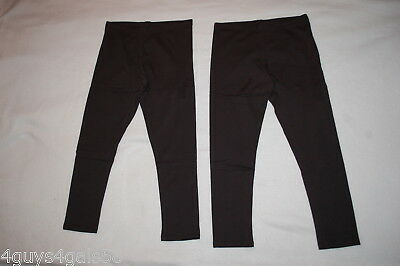 Girls 2 PR LOT Ankle Length BLACK LEGGINGS Solid Color XS 4-5 S 6-6X