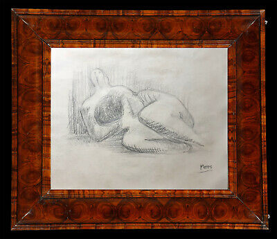 *Superb* Sculptural Graphite Drawing of a Reclining Nude Signed - Henry Moore