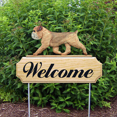 Brussels Griffon Wood Welcome Outdoor Sign Tan/Brown Uncropped