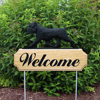 Brussels Griffon Wood Welcome Outdoor Sign Black Uncropped