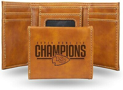 Kansas City Chiefs Super Bowl LIV Champions Premium Brown Leather TRIFOLD Wallet