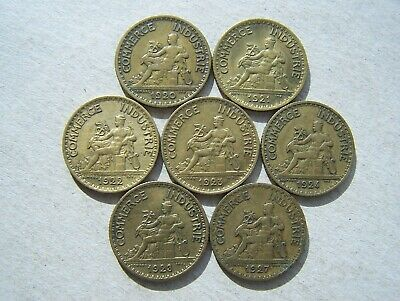 France 1920 to 1927 Collection of 1 Franc Coins (All different)