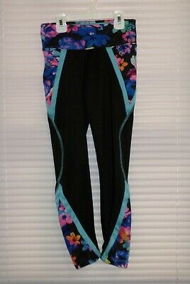 Justice Girls Leggings Active Wear Size 12 Black Flowers Detail Inset