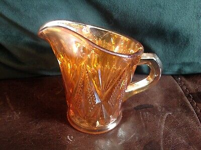 Vintage Carnival Glass Cream, Milk Jug Marmalade  Colour,