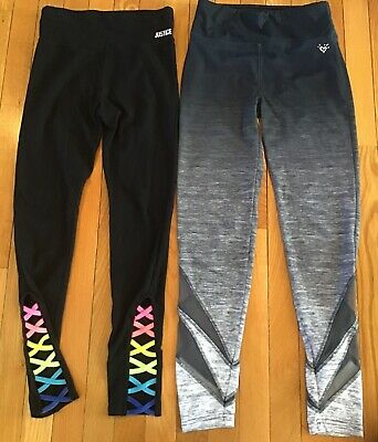 Lot Of 2 Justice Logo Girls Size 14/16 Leggings Pants Black Gray Spacedye