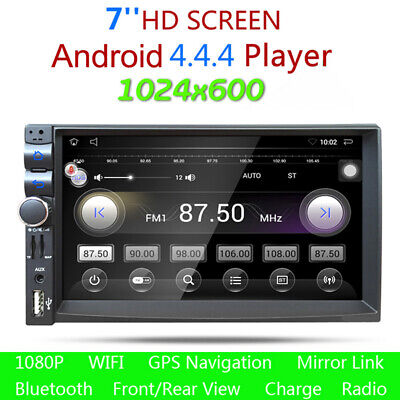 7 Android 4.4 Double 2-Din HD Car Stereo GPS Navigation MP5 MP3 Player Bluetooth