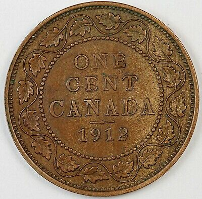 1912 Canada / Canadian One Large Cent / Penny - AU About Uncirculated Condition