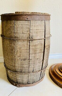 Old Antique Primitive Wooden Wood Barrel Vessel Keg Farmhouse Rustic 100 years