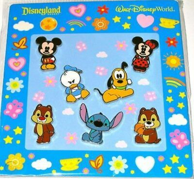 Disney Parks Cutie Mickey Minnie Stitch Donald Chip Dale 7 Pin Booster Pack Set