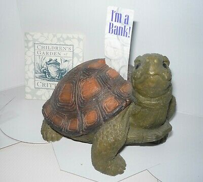 """TURTLE  BANK - Children's Garden of Critters - hand painted 5"""" tall -6"""" wide"""