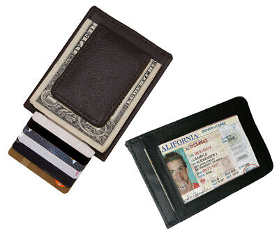 Black Men's Genuine Leather Magnetic Money Clip Id Bage Wallet