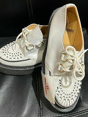 Original George Cox D Ring Creeper Crepe Sole Wht Leather Ted Teddy Boy Size 3.5