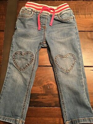 Mini Boden Heart Patch Jeans 3 3T EUC Girls Pink Striped Waistband