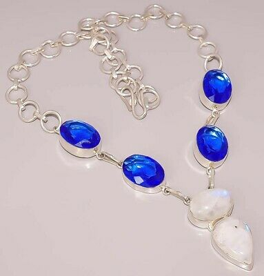 Rainbow Moon Stone London Blue Topaz 925 Sterling Silver Plated Necklace