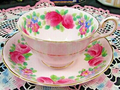 Tuscan Hand Painted Pink Roses Floral Tea Cup And Saucer