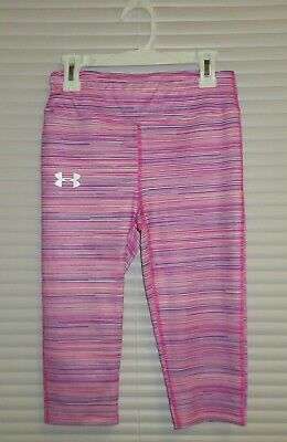 Girls M Youth Under Armour FITTED Crop Capri Leggings Mixed Pink Stripes