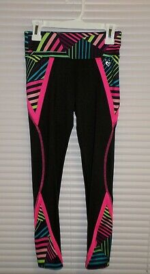 Justice Girls Size 8 Geometric ACTIVE Leggings Black w Bright Colors Insets