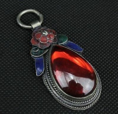 China Tibet-silver handwork inlay Red Zircon old cloisonne red flower pendant F6