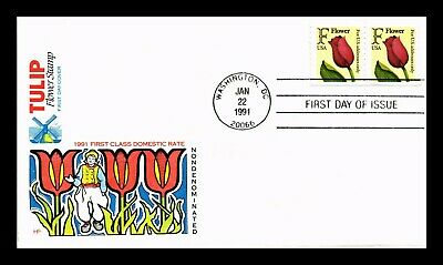 Dr Jim Stamps Us Tulip Flower F Rate Stamp House Of Farnum Fdc Cover Pair