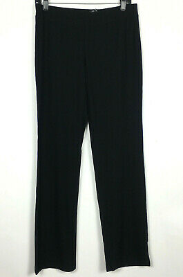 Eileen Fisher Ankle Pants Womens Small Black Viscose Crepe Knit Mid Rise Pull On