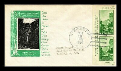 Dr Jim Stamps Us National Park Yosemite Scott 751A On Cover 1934 Washington Dc