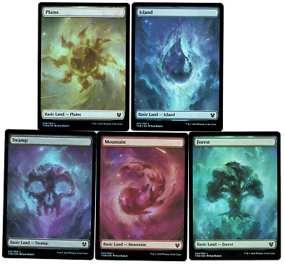 MTG Magic Theros Beyond Death Foil Full Art Basic Land Set X15 (3 of each Land!)
