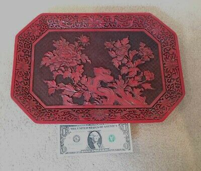 "Mid-Century Large Chinese Cinnabar Lacquer Floral 14.5"" x 10.25"" Octagon Plate"