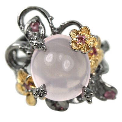 Natural Aaa Rose Quartz & Red Ruby Sterling 925 Silver Flower Ring Size 8.25