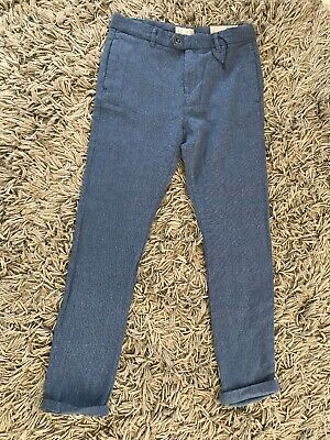 Bnwt Zara Boys Size 11/12 Blue Linen Trousers Wedding Holiday Smart Chino Suit