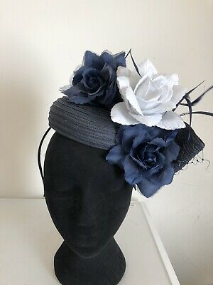 Blue White Flower Fascinator Weddings Christenings Ladies Day Ascot