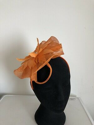 Orange Fascinator On Headband Wedding Christening Ladies Day Ascot