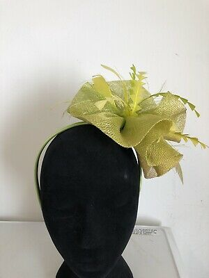Lime Green On Headband Fascinator Weddings Christenings Ladies Day Ascot