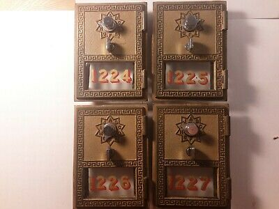 4 Working Post Office Box Doors - Brass