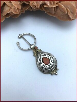 Old Vintage Handmade Moroccan Silver Fibula Pin Brooch Coral Ethnic Jewelry 1960