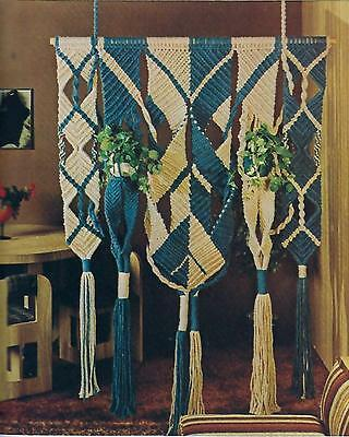 Vtg Macrame Room Divider Pattern Instructions in Fiber Arts with Maxi-Cord Book