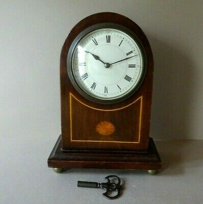 Antique Edwardian Inlaid Mahogany French Mechanical Mantle Clock 8 Day Working