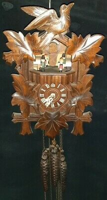 Black Forest German Musical Cuckoo Clock 3 Weights  'The Happy Wanderer'