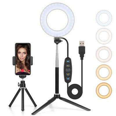 6 Inch Dimmable USB LED Ring Light, With Tripods and Selfie stick